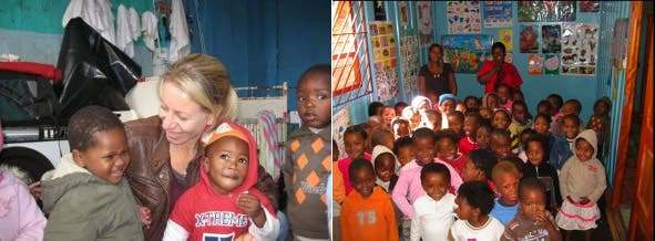 Amanda with some of the children at the Mzamomhle creche before rebuilding began. And the happy children in their new classroom (right).