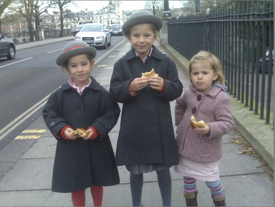 Eating pain au chocolat on the way to school...on a good day!