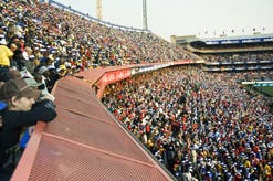 Football fans pack Loftus Versfeld Stadium in Pretoria/Tshwane, one of the 10 venues for the 2010 Fifa World Cup.  (Images: Chris Kirchhoff,  MediaClubSouthAfrica.com