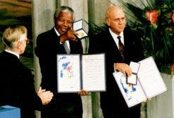 Nelson Mandela and FW de Klerk receive the Nobel Peace Prize in 1993 for their efforts to bring peace to South Africa. (Image: FW de Klerk Foundation)