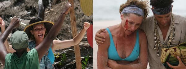 Survivor Ups and Downs: Ashley wins immunity (left) and suffers an injury during a challenge (right)