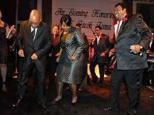 Jacob Zuma parties with The Temptations