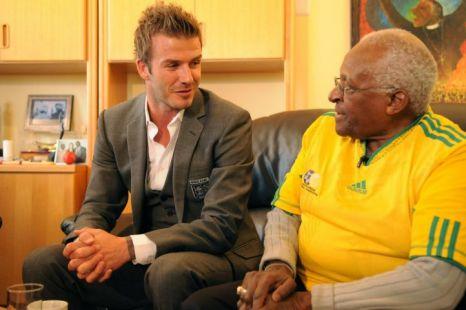 David Beckham meets Bishop Tutu