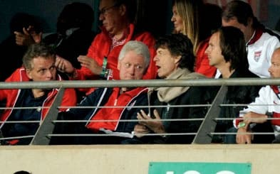 Bill Clinton and Mick Jagger at FIFA 2010 World Cup