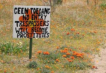 No entry: trespassers will become prostitutes