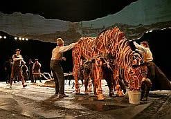 The life-size horses for the play were  made from plywood and cane.