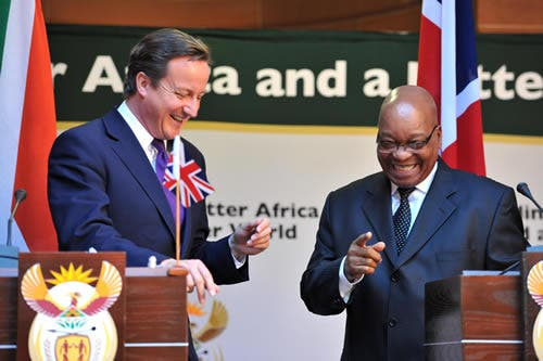 President Jacob Zuma received UK Prime Minister David Cameron on a working visit to South Africa held at the Union Buildings, Pretoria.