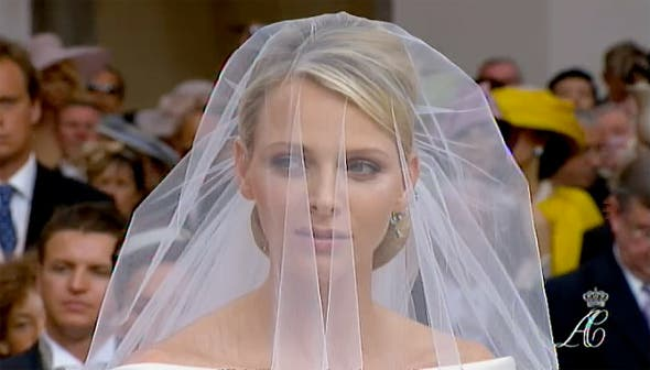 Charlene Wittstock in bridal gown at the religious ceremony today