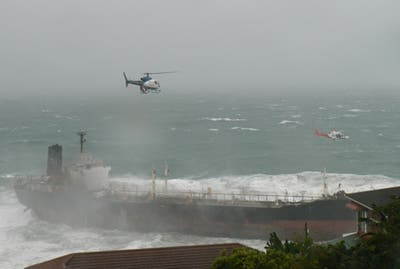 Three helicopters lifted crew one-by-one