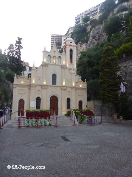 The SA Flag even appears in the flowerbeds outside the famous St Devota church in Monaco