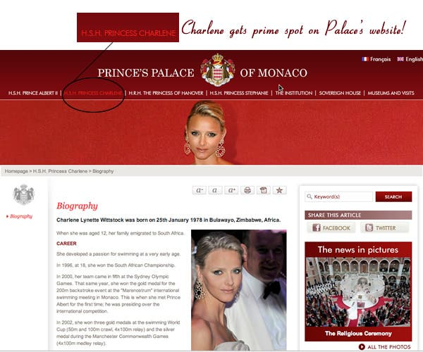 HSH Princess Charlene now features prominently on the Palace of Monaco's Website