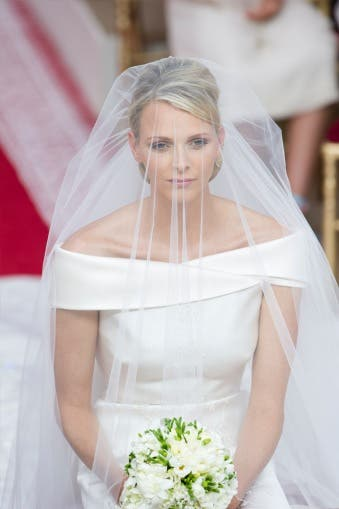 Princess Charlene in her Giorgio Armani wedding dress