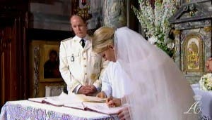 Prince Albert II and Princess Charlene of Monaco during their wedding service