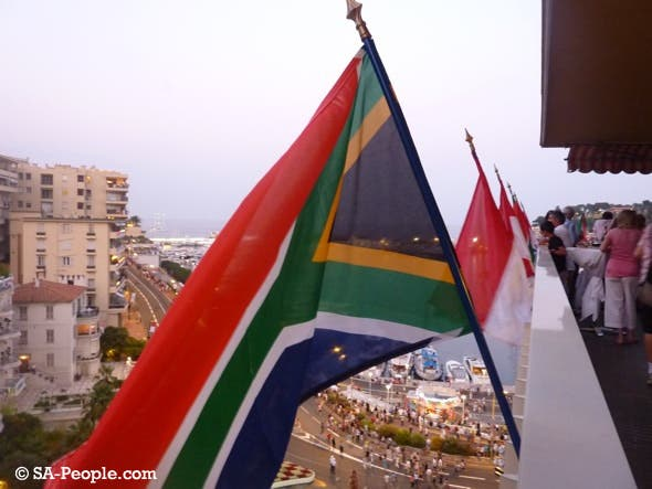 South African flag flying high in Monaco