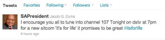 South African President's Tweet