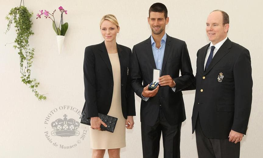 Princess Charlene, Novak Djokovic and Prince Albert II