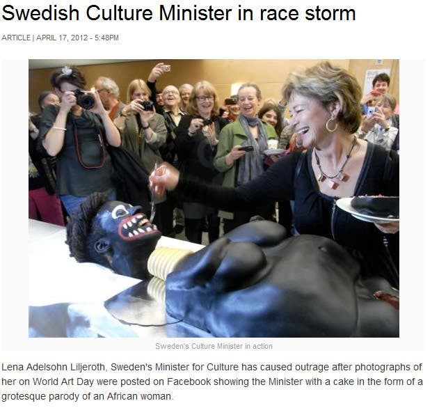 The Swedish Culture Minister's laughter as the artwork 'cries' has created headlines around the world.
