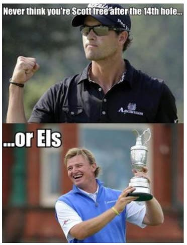 Ernie Els and Adam Scott joke about British Open