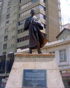 Gandhi stands tall in Gandhi Square in downtown Joburg (Image: Lucille Davie)