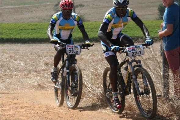 Rwandan riders competing in the Epic Prologue on Sunday , the world's biggest and toughest MTB event that takes place over 8 days.