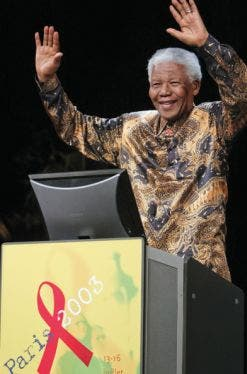 Mandela at the second International AIDS Society conference in Paris.