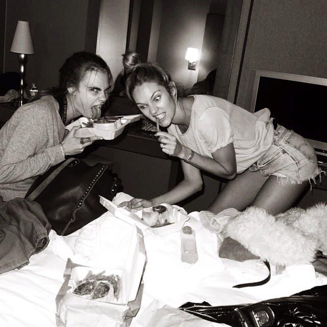 Candice Swanepoel and Cara Delevingne