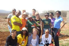 Volunteers gather for gardening and painting work at the Amazing Grace children's home in Kibler Park, Johannesburg (Photo: Cheesekids for Humanity)
