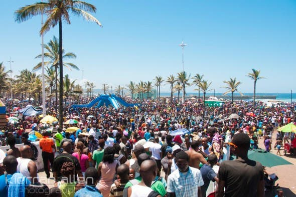 Durban Beachfront on 01 January 2014