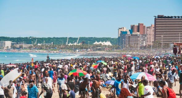 Durban Beach Front on New Year's Day