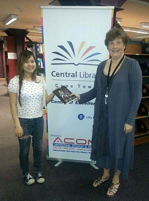 Kimi in Central Library with Sarah Faulkner