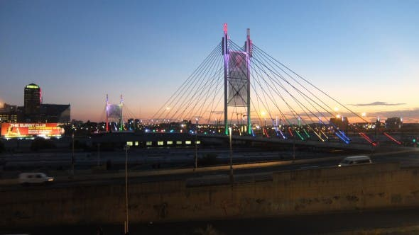 Nelson Mandela Bridge at dusk
