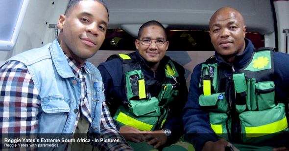 Reggie accompanied the SA Paramedics in the ambulance