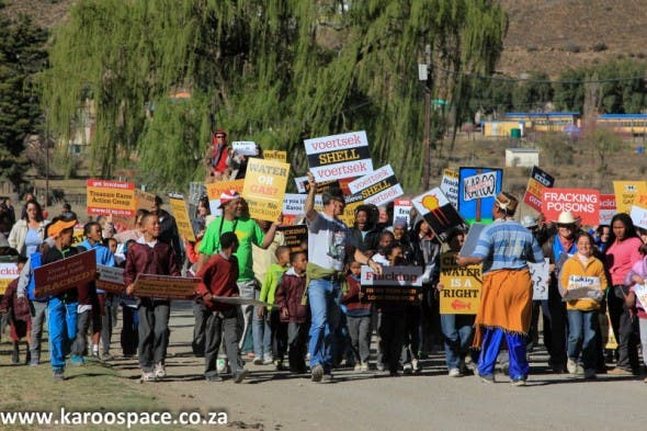 A colourful demonstration against fracking in Nieu-Bethesda