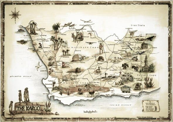 A map of the Karoo by Gillian Vermaak of Jagersfontein