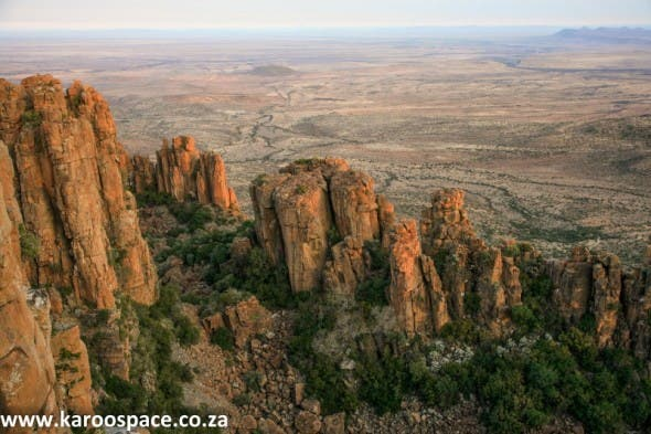 The Valley of Desolation near Graaff-Reinet and its dolerite pillars, created 183 million years ago when molten rock rose upwards from the Earth's mantle.