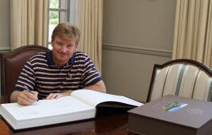 South African golfer Ernie Els hand-signs the Masters Collection