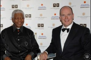 Prince Albert II with late South African President Nelson Mandela