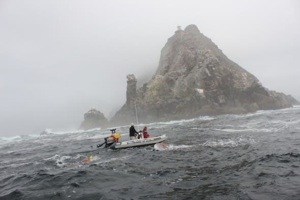 Rounding Cape Point in rough conditions