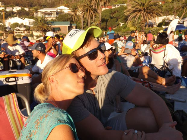 Kirsty and I on Clifton 4th beach in Cape Town during the annual free Moonstruck concert