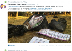 Screenshot from Twitter showing alleged dumped 'special' votes