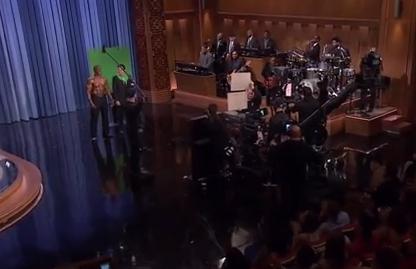 Green screen on Jimmy Fallon show