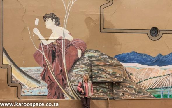 Keepsakes co-author Julie du Toit visiting the Lady of Bacchus in Franschhoek.