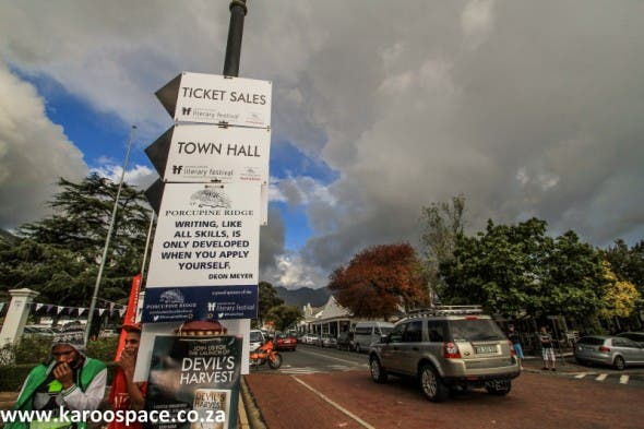 Franschhoek's main road became an avenue of literary sayings.
