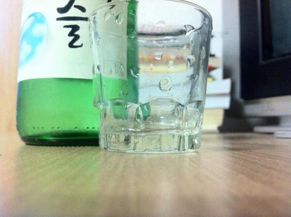 Soju with shot glass.