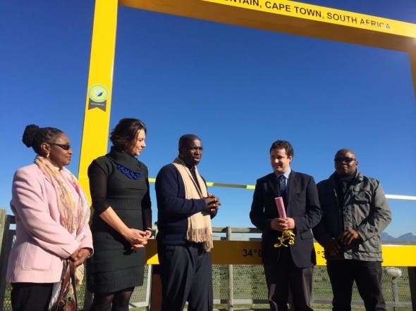 From left to right: Tourism Department Director Ms. Nombulelo Mkefa, Table Mountain Cableway CEO Ms. Sabine Lehmann, Tourism Department product development head Mr Sisa Ngondo, Mayoral Committee Member for Tourism, Events and Marketing Councillor Garreth Bloor, and the City's tourism development manager Mr Mthetheleli Hugo.