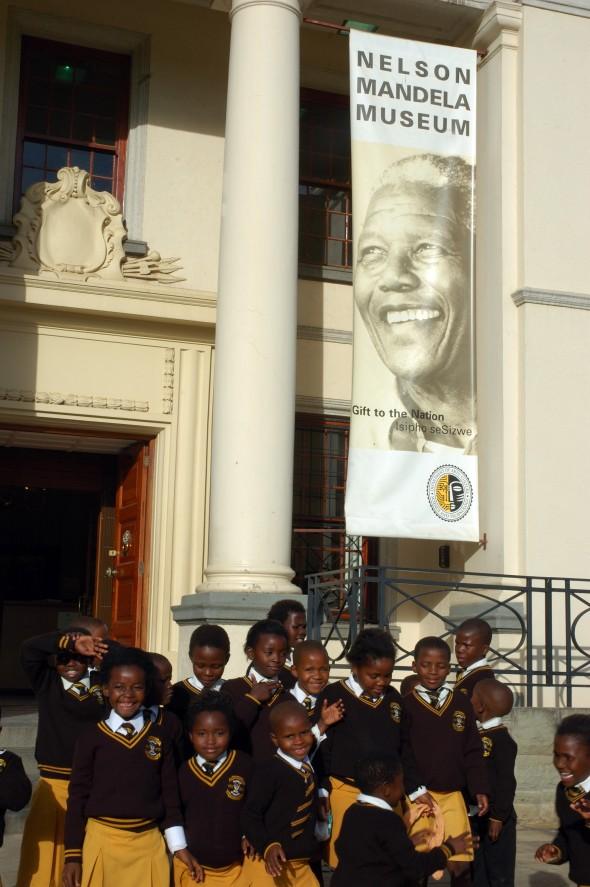 Schoolchildren  outside the Nelson Mandela  Museum.