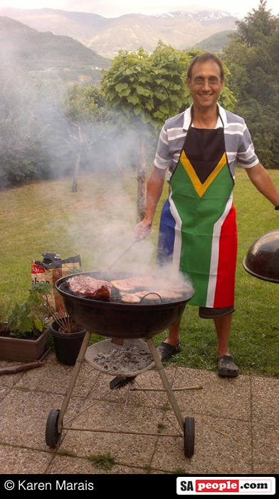 South Africans enjoying a braai in France recently