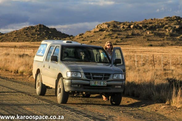 Julienne du Toit and the Karoo Space bakkie. Photograph by Chris Marais
