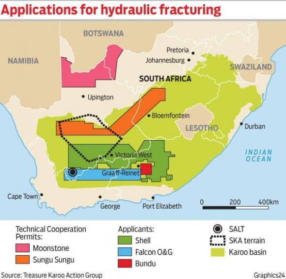 Karoo areas affected by proposed fracking for shale gas.