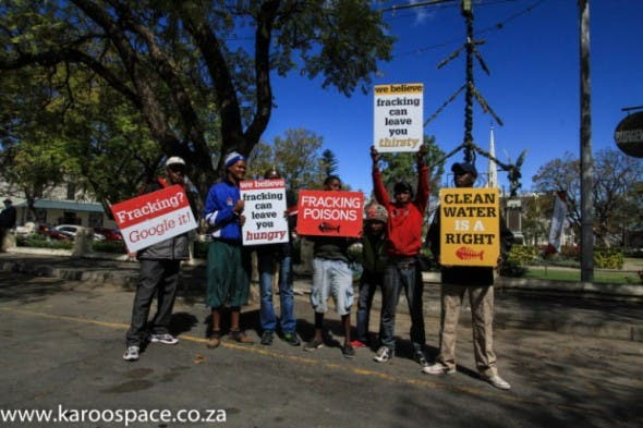 Anti-fracking protesters outside the Graaff-Reinet town hall.